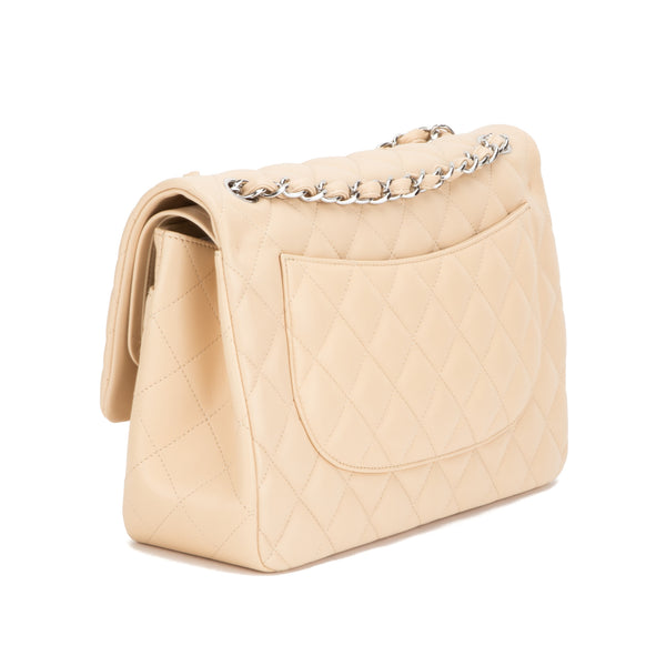 Chanel Beige Lambskin Jumbo Double Flap  (Authentic Pre Owned)