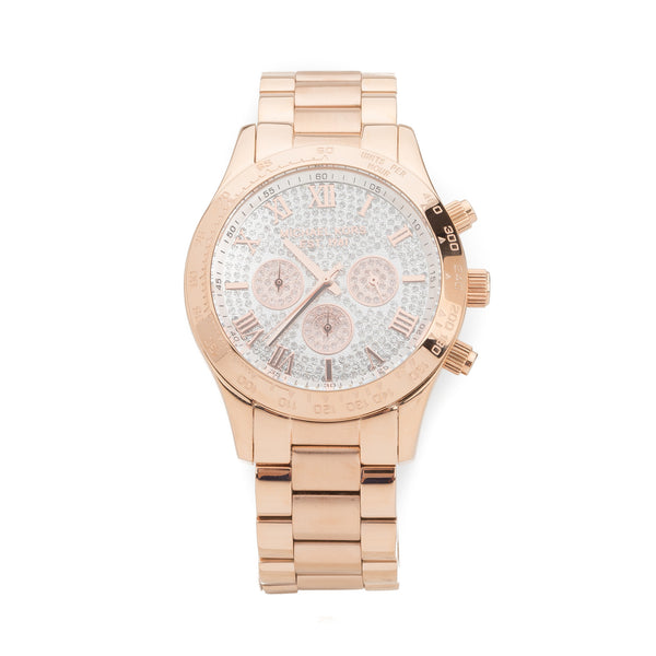 Michael Kors Rose Gold Chronograph Layton Pave Watch (New with Tags)
