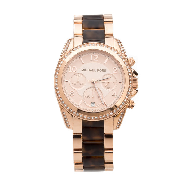 Michael Kors Rose Gold -Tone and Tortise Blair Stainless Steel Watch (New with Tags)