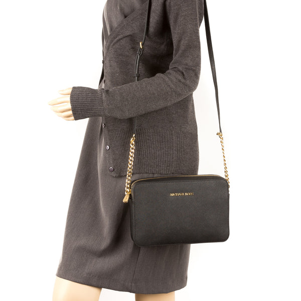 7489f2a79ee8 michael kors jet set travel small black crossbody bag montre runway mk5660  femme