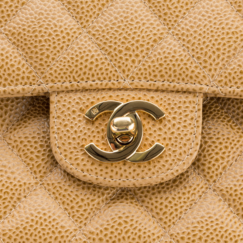 Chanel Beige Caviar Double Flap Bag (Authentic Pre Owned)