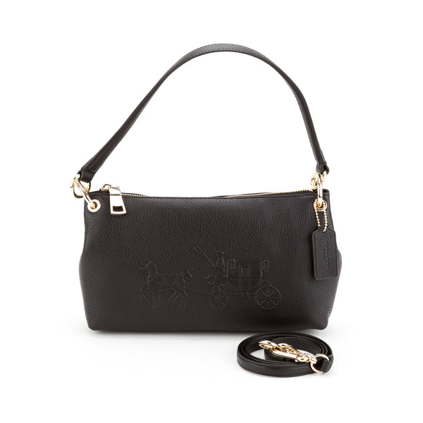Coach Black Embossed Horse and Carreage Charley Crossbody  (New with Tags)