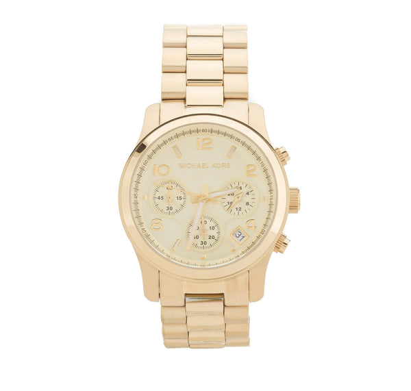 Michael Kors Gold-Tone Chronograph Runway  Stainless Steel Watch (New with Tags)