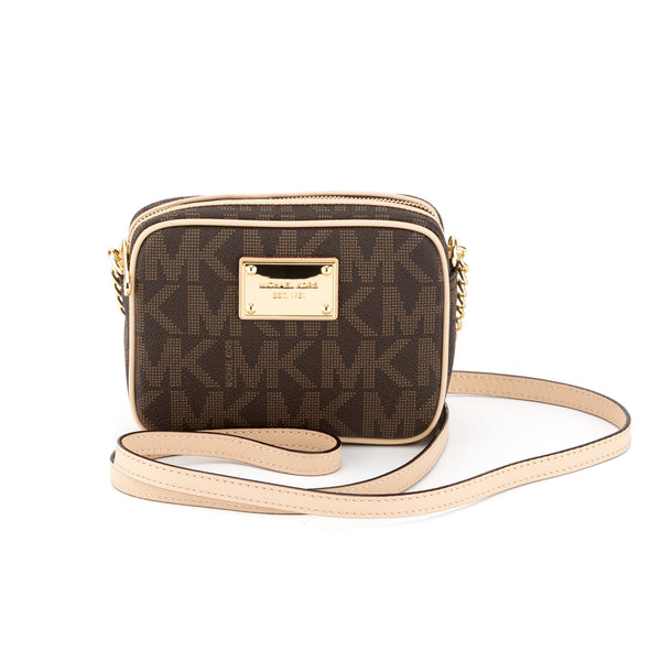 720dc0ba6686 Michael Kors Brown MK Logo Jet Set Crossbody Small (New with Tags ...
