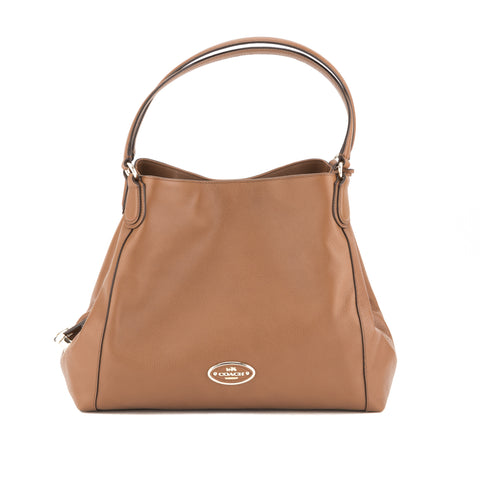 Coach Brown Pebble Leather Edie Shoulder Bag  (New with Tags)