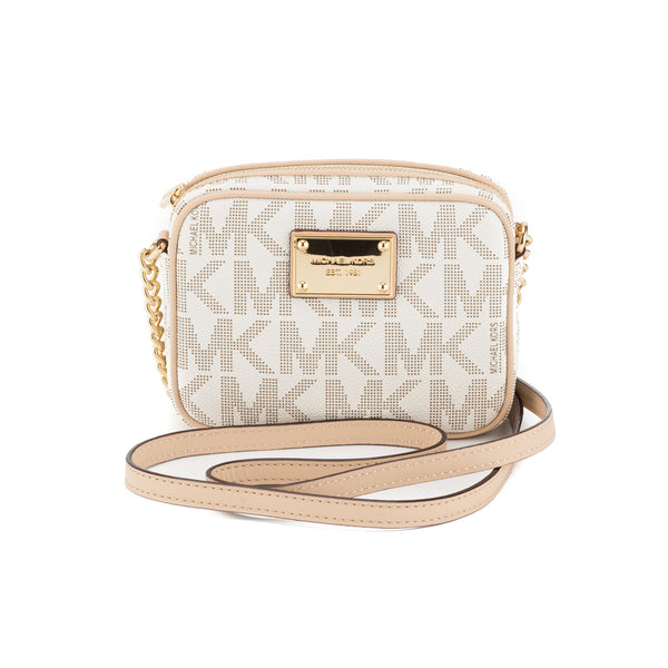 dbb199562 Michael Kors Beige MK Logo Jet Set Crossbody Small (New with Tags ...
