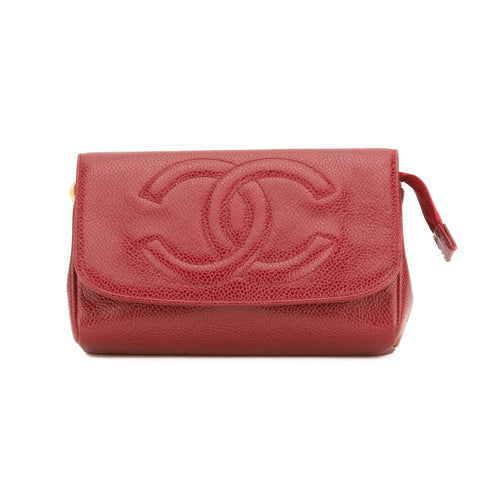 Chanel Bordeaux Caviar cosmetic Pouch (Pre Owned)