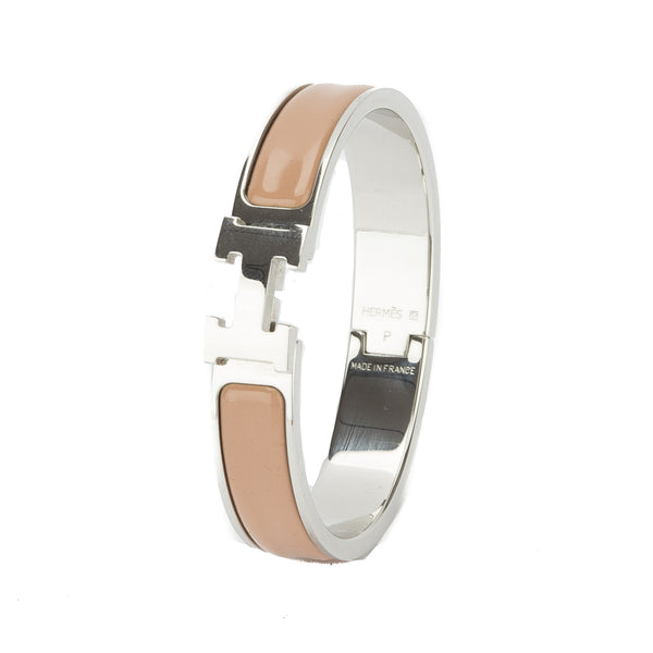 Hermes beige enamel clic narrow hh bracelet pre owned 2517001 luxedh - Clic clac grande taille ...