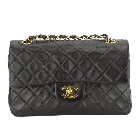 Chanel Black Quilted Lambskin Leather Double Flap Bag (Pre Owned)