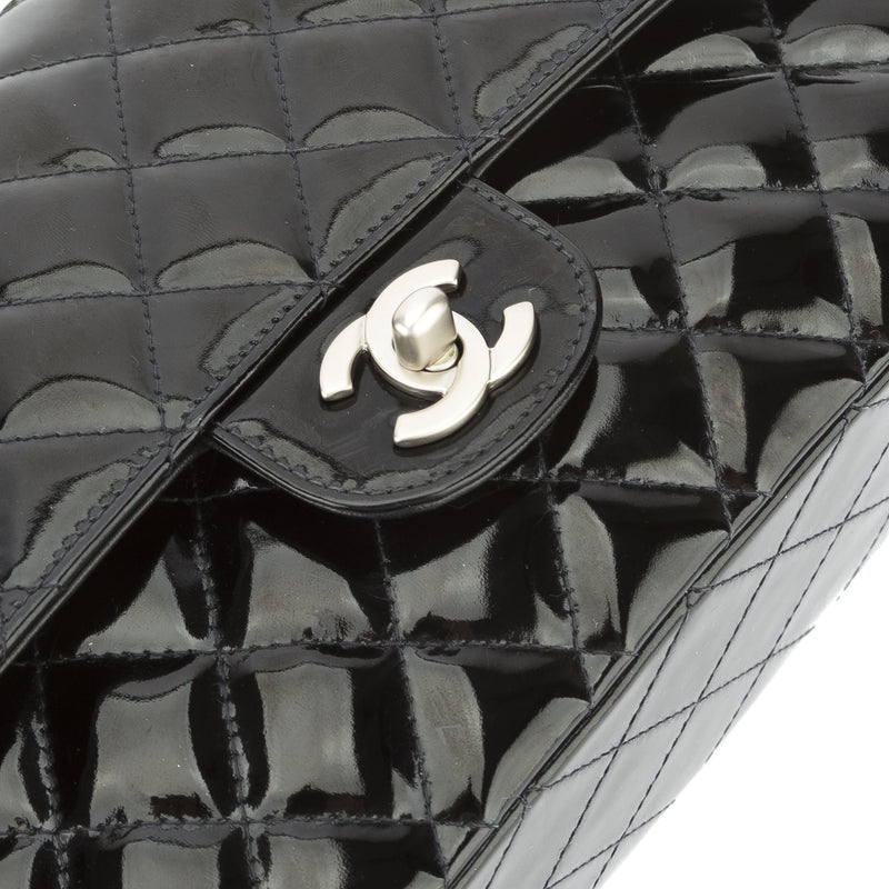 Chanel Black Patent Double Flap Jumbo (Authentic Pre Owned)