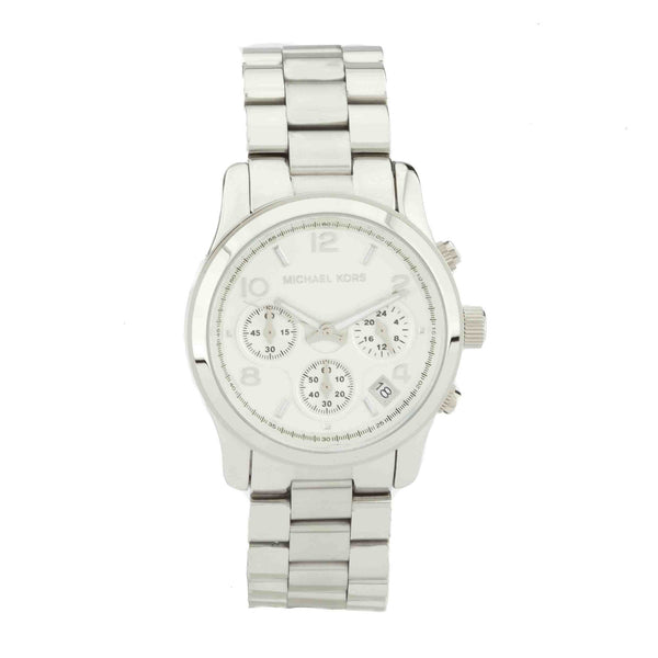 Michael Kors Silver-Tone Chronograph Runway  Stainless Steel Watch (New with Tags)