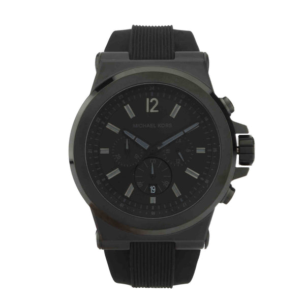Michael Kors Men's Dylan Black Silicone Strap Watch  (New with Tags)