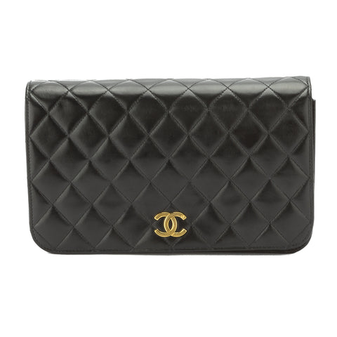 Chanel Black Quilted Lambskin Leather Single Flap Bag (Pre Owned)