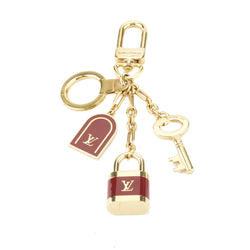 Louis Vuitton Gold and Red Italy Key Holder Charm (Authentic Pre Owned)