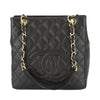 Chanel Black Quilted Caviar Leather Petite Shopping Tote Bag (Pre Owned)