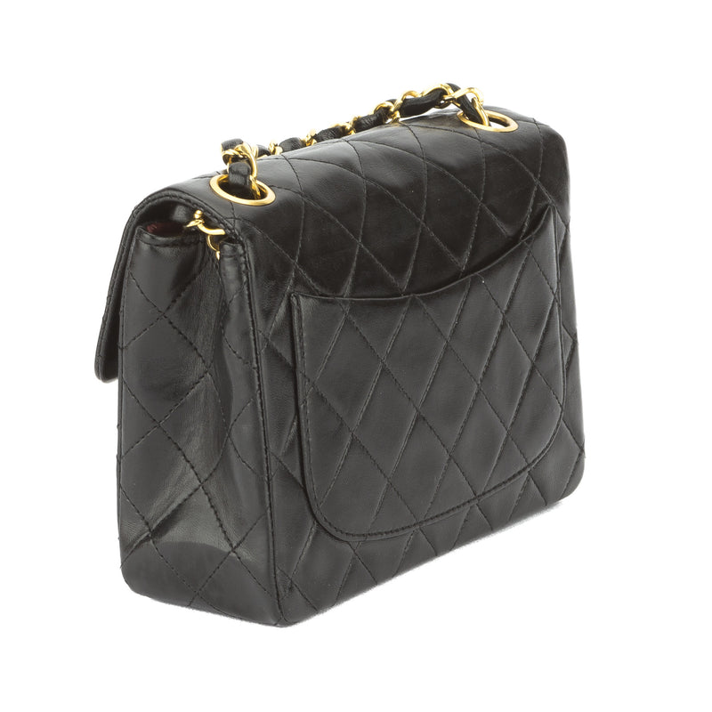 Chanel Black Quilted Lambskin Leather Mini Square Single Flap Bag (Pre Owned)