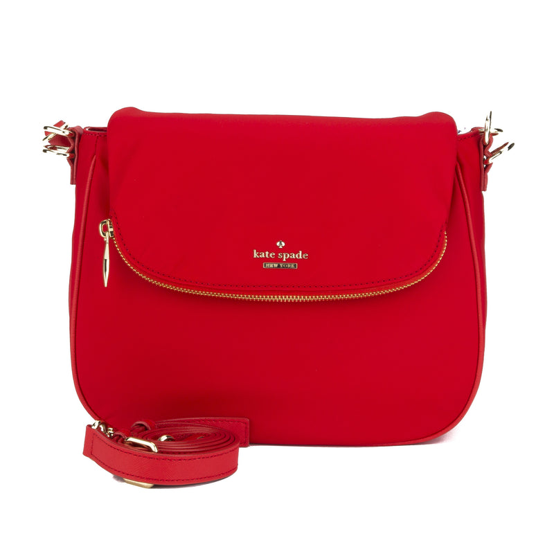Kate Spade Red Nylon Leather Classic Devin Small Bag (New with Tags)