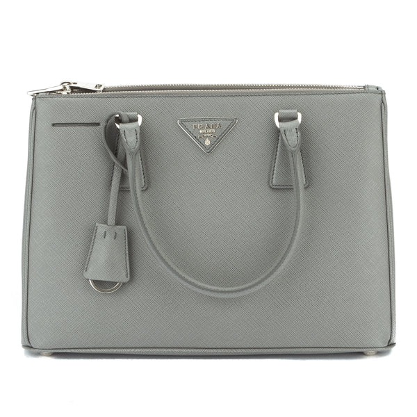 cf29ced3f098 ... where to buy prada gray saffiano lux small double zip tote new with  tags 2726001 luxedh