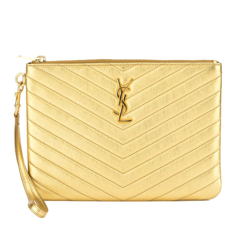 Saint Laurent Gold Matelasse Leather Pouch (New with Tags)