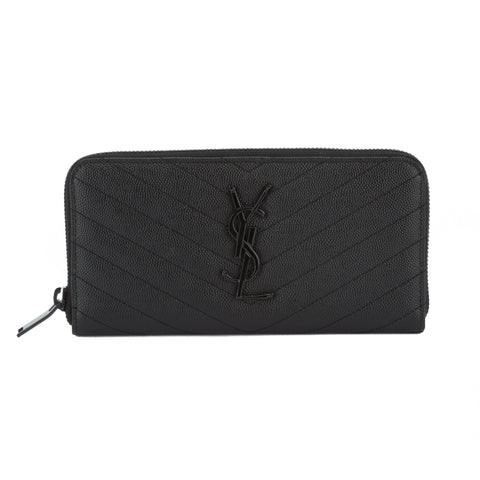 Saint Laurent Black Grain de Poudre textured Matelasse Leather Wallet (New with Tags)