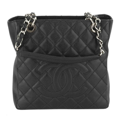 Chanel Black Caviar Petite Shopper Tote Bag (Pre Owned)