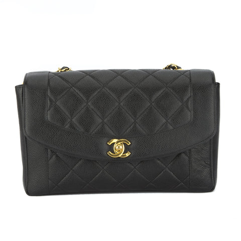 Chanel Black Caviar Single Flap Bag (Pre Owned)