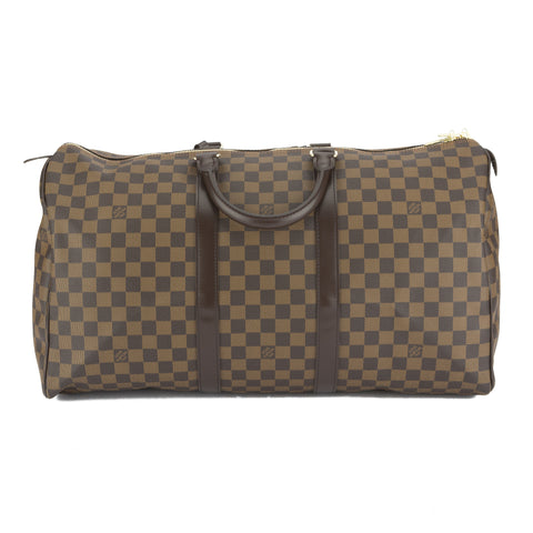 Louis Vuitton Damier Ebene Keepall  Boston 50 Bag (Authentic Pre Owned)