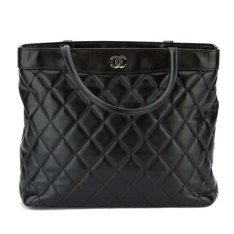 Chanel Black Lambskin Tote Bag (Pre Owned)