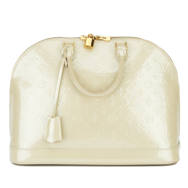 Louis Vuitton Pearl White Vernis Alma GM Bag (Authentic Pre owned ...
