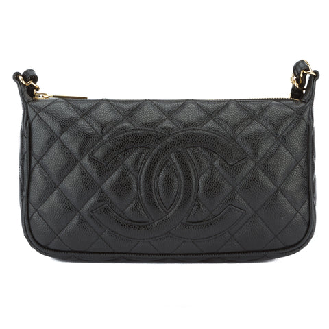 Chanel Black Caviar Pochette Bag (Pre Owned)
