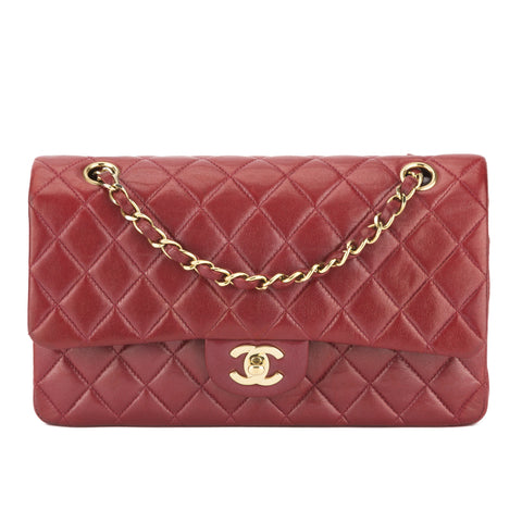Chanel Red Lambskin Double Flap Bag (Authentic Pre Owned)