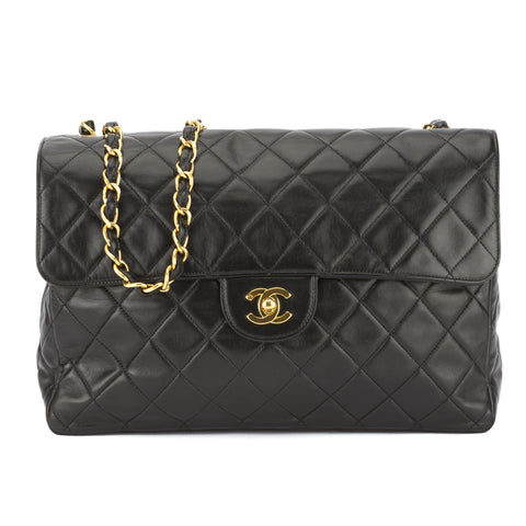 Chanel Black Lambskin Jumbo Single Flap Bag (Authentic Pre Owned)