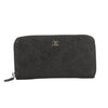 Chanel Black Nubuck Round Zippy Long Wallet (Pre Owned)