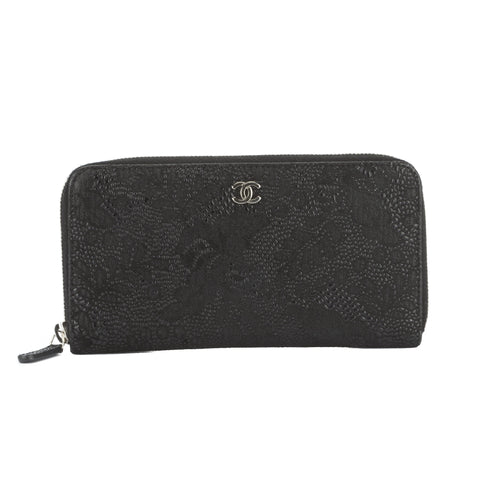 Chanel Black Nubuck Round Zippy Long Wallet (Authentic Pre Owned)