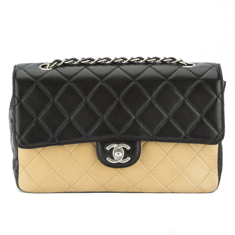 Chanel Bicolor Lambskin Single Flap Bag (Pre Owned)