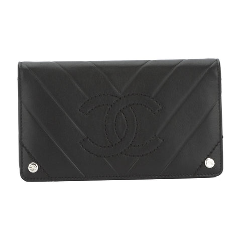 Chanel Black Lambskin Leather Chevron Wallet (Pre Owned)