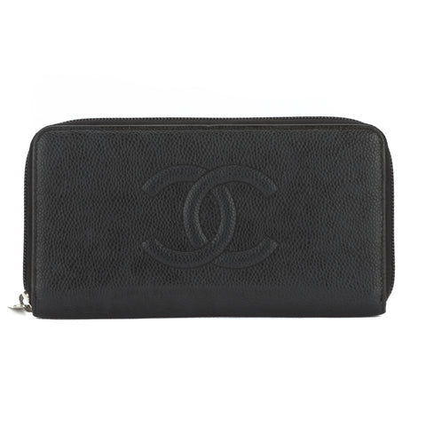 Chanel Black Caviar Leather CoCo Mark Zippy Wallet (Pre Owned)