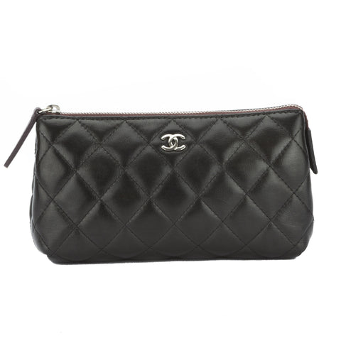 Chanel Black Lambskin CC Cosmetic Pouch (Pre Owned)