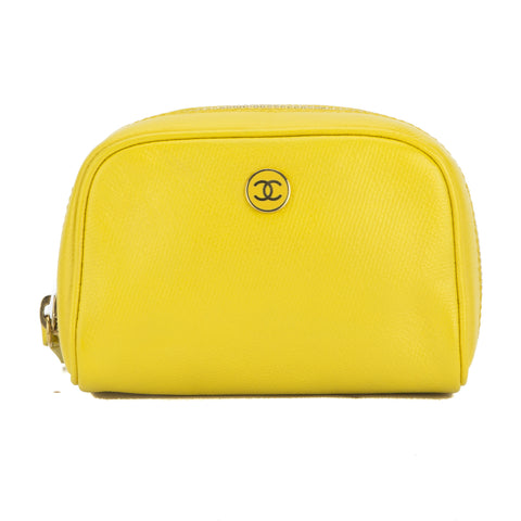 Chanel Yellow Calfskin Coco Botton Cosmetic Pouch (Pre Owned)