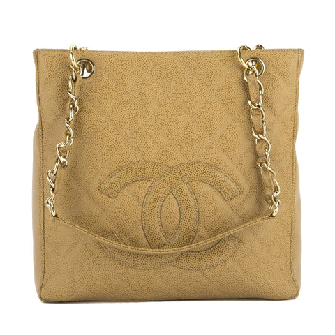 Chanel Beige Quilted Caviar Leather Petit Shopping Tote Bag (Pre Owned)