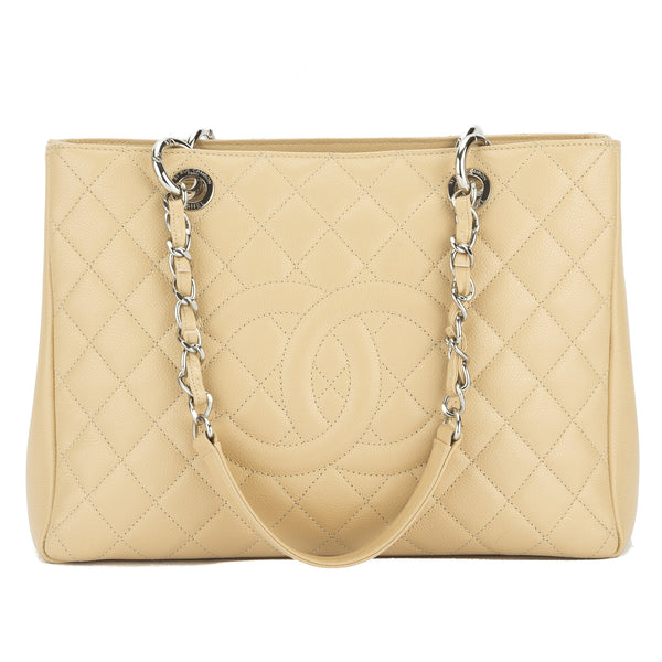 a43946be3f27 Chanel Beige Caviar Grand Shopping Tote Bag (Authentic Pre Owned ...
