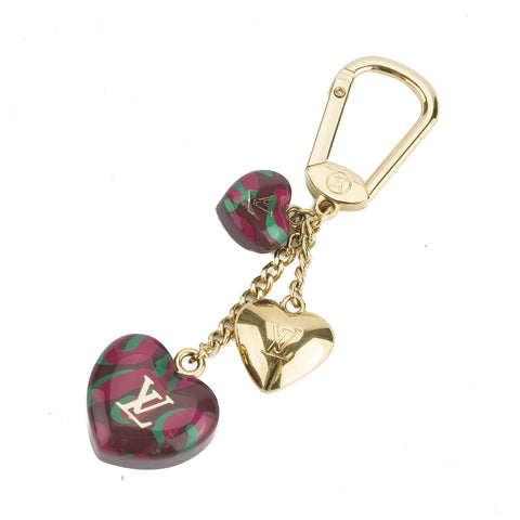 Louis Vuitton Gold and Leopard Heart Key Holder Charm (Pre Owned)