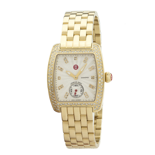 Michele Gold-Tone Stainless Steel Diamond Urban Mini Women's Watch  (New with Tags)