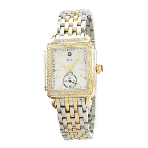 Michele Deco 16 Two Tone Diamond, Two Tone Bracelet Watch   (New with Tags)