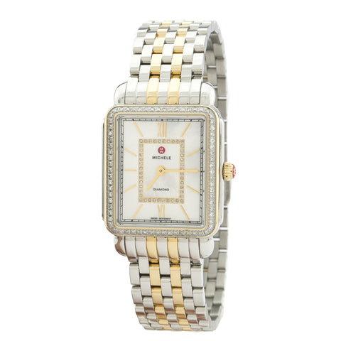Michele Deco II Diamond Two-Tone, Diamond Dial Watch  (New with Tags)