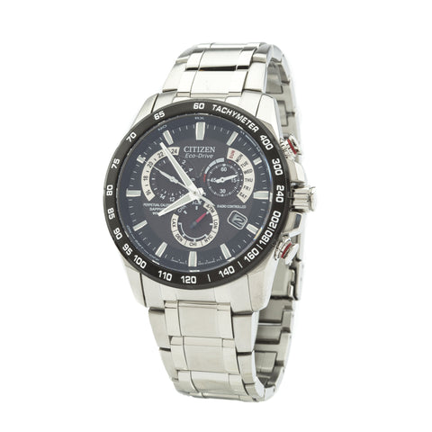 Citizen Silver/Black Perpetual Chrono A-T Watch (New with Tags)