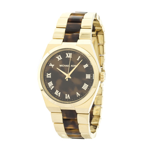 Michael Kors Channing Gold-Tone Tortoise Acetate Watch (New with Tags)