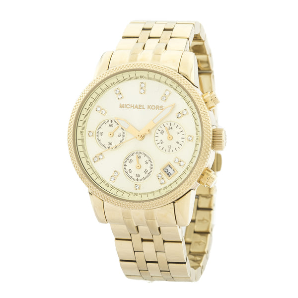 Michael Kors Chronograph Ritz Gold-Tone Stainless Steel Bracelet Watch (New with Tags)
