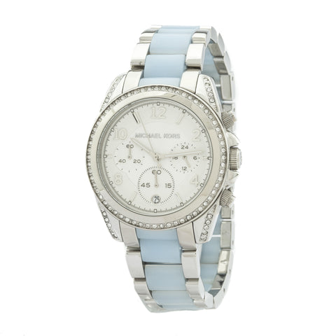 Michael Kors Blair Chronograph Silver Dial Stainless Steel with Chambray Acetate Ladies Watch  (New with Tags)