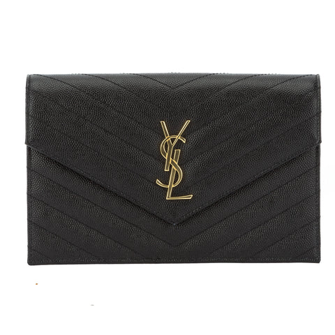 Saint Laurent Black Grained Matelasse Leather Chain Wallet (New with Tags)